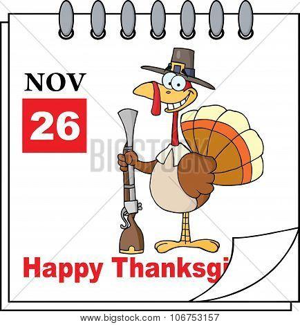 Calendar Page Turkey With Pilgrim Hat
