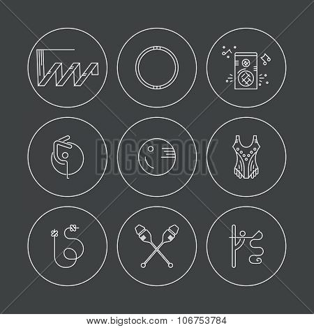 Modern and unique line vector collection of professional rhythmic gymnastics equipment. Professional sport vector. Unique and modern set isolated on background.. poster