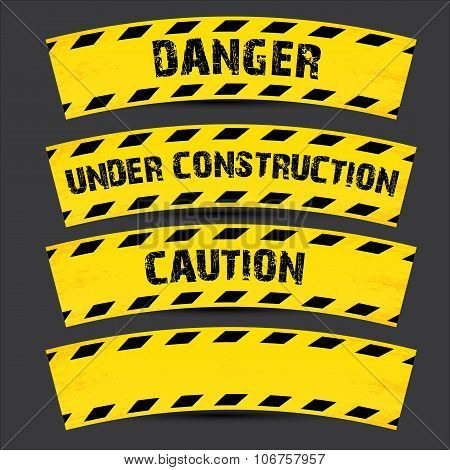 Yellow security warning tapes set Caution, Do not cross, Do not enter, Danger. For web, criminal and law design poster