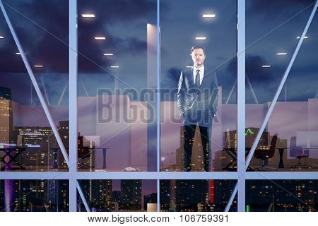 Businessman Staying In Modern Office In Vitreous Business Center