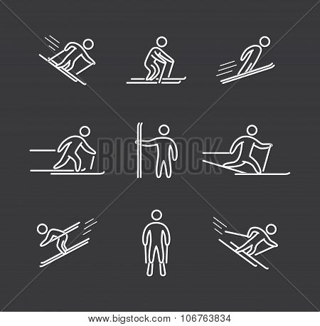 Linear skiing icons set. Linear figure skier. Line art sport symbols poster