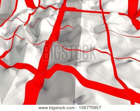 abstract - wavy surface with red lines 3d