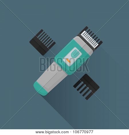 Vector Flat Hairclipper Illustration Icon.