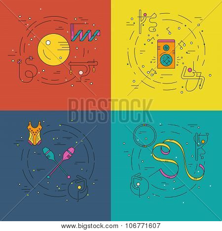Thin line vector concept collection with rhythmic gymnastics equipment and elements including ball clubs hoop.Flyer and banner collection. Sport and fitness vector. poster