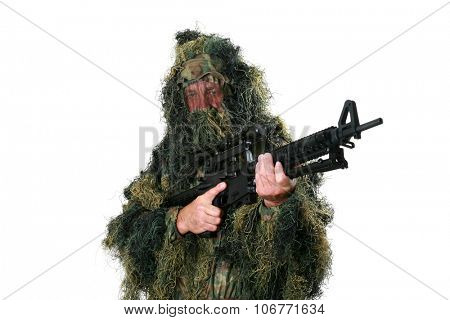 a Hunter or Sniper wears a Ghillie Suit to blend in with his surrounding woods or forest or field so he remains unseen by the enemy. Ghillie Suits are also worn for Halloween as a costume