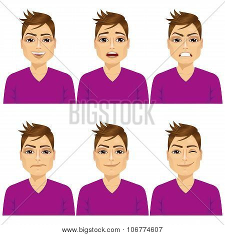 man on six different face expressions set