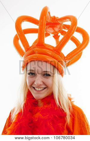 Young Woman As Dutch Orange Supporter