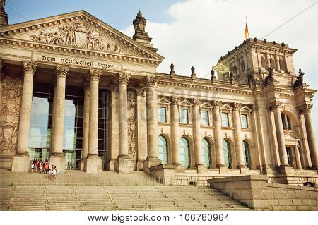 Tourists Go On A Tour Of Historical Reichstag Building, German Parliament