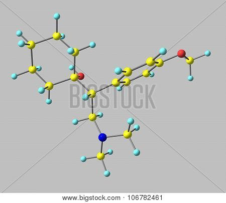Venlafaxine Molecule Isolated On Grey