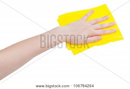 hand with yellow wiping rag isolated on white background poster