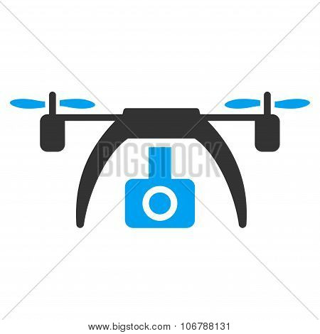Drone Video Camera vector icon. Style is flat symbol, rounded angles, white background. poster