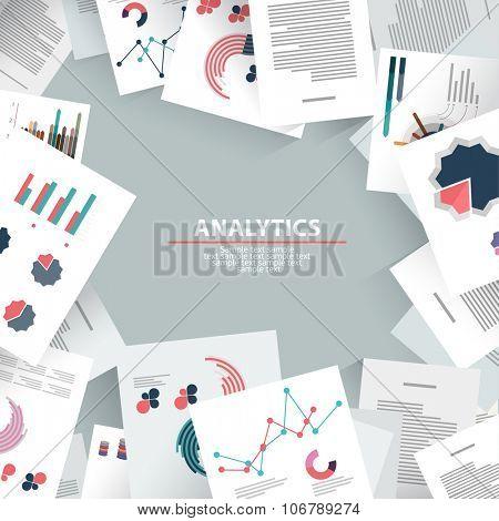 Analysis information and brainstorming. Flat design.