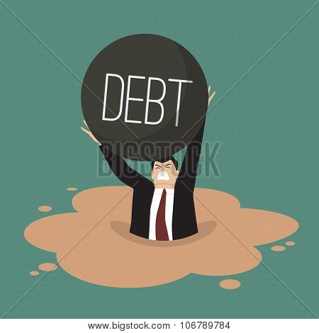 Businessman With Heavy Debt Sinking In A Quicksand