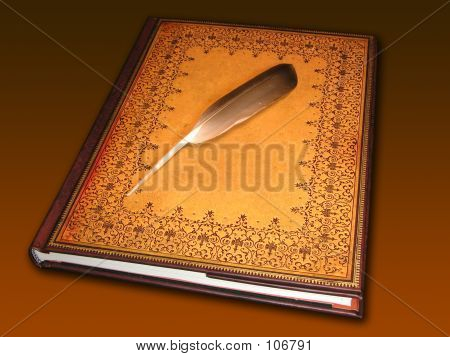 Book Holding A Feather
