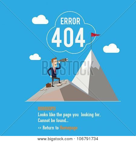 404 error page. Vector illustration. Businessman standing using telescope.