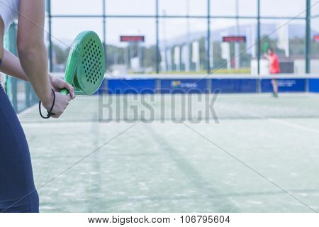 Woman Playing Paddle Match.