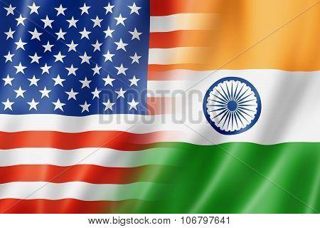 Usa And India Flag