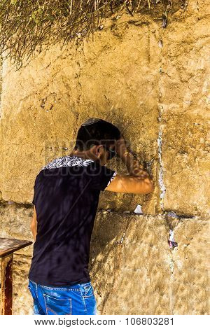 Unidentified  Young  Jewish Worshiper In Skullcap   Praying At The Wailing Wall An Important Jewish