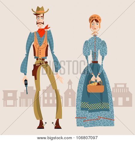 Wild West. Cowboy And Girl