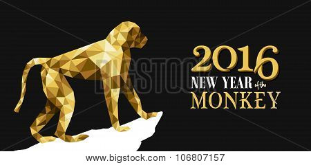 Happy Chinese New Year Monkey Gold Low Poly Ape