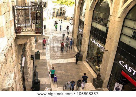 Mamilla Shopping Street By Jaffa Gate In Jerusalem.