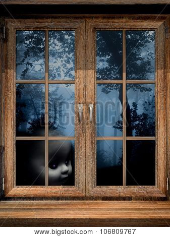Dark series. Old window and doll ghost in misty forest. 3d render