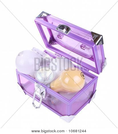 Blue transparent box with electric bulbs