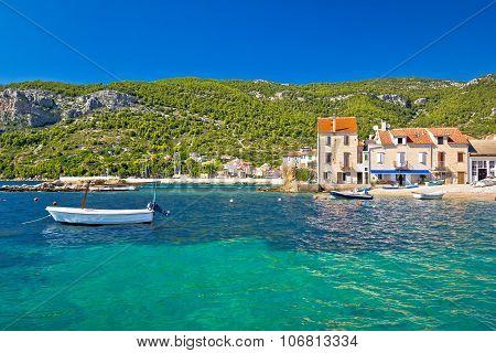 Idyllic turquoise waterfront of Komiza Island of Vis Croatia poster