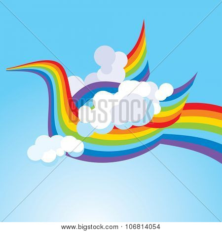 Vector bird from a rainbow in the blue sky