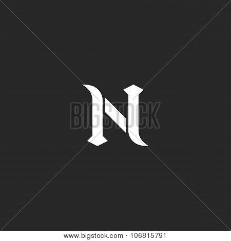 N logo letter mockup medieval design element black and white old style emblem for wedding invitation or business card poster