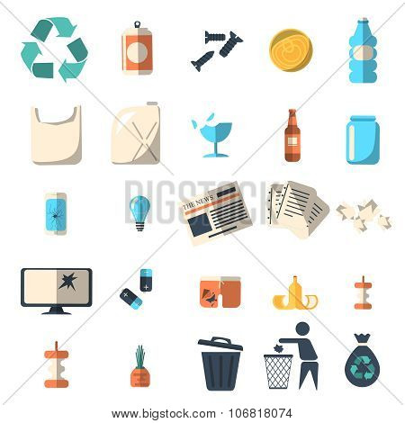 Waste sorting and recycling isolated symbols