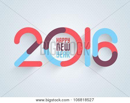 Stylish text 2016 on glossy sky blue background for Happy New Year celebration.