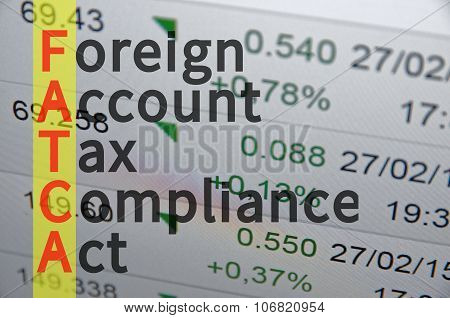 Business Acronym FATCA as Foreign Account Tax Compliance Act. poster