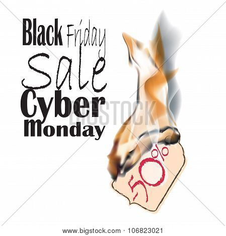 Black Friday and Cyber Monday. burning fire label and sale, special tag or badge item bright flame
