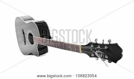 Black guitar isolated over white.
