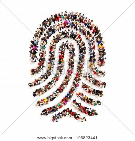 Large group pf people in the shape of a fingerprint on an isolated white background.