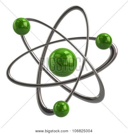 Illustration of green atom icon isolated on white background