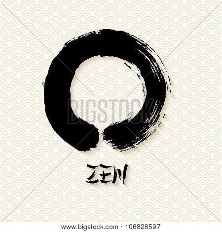 Simple Zen Circle Illustration Traditional Enso