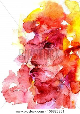 Abstract Female Face Aquarelle