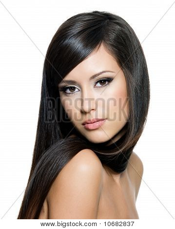 Pretty Woman With Long  Hair