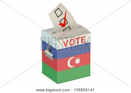 Azerbaijan election ballot box for collecting votes isolated on white background poster