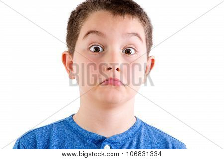 Young Boy In Studio With Surprised Expression