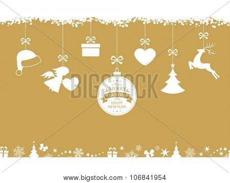 Set of hanging Christmas ornaments like bauble, santa hat, reindeer, angel, heart, present and tree on beige golden background. The bottom and top borders of snow and Christmas symbols are seamless.