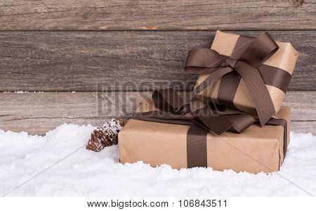 Two Brown Gift Packages
