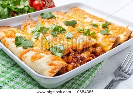 Beans and Vegetables Enchiladas