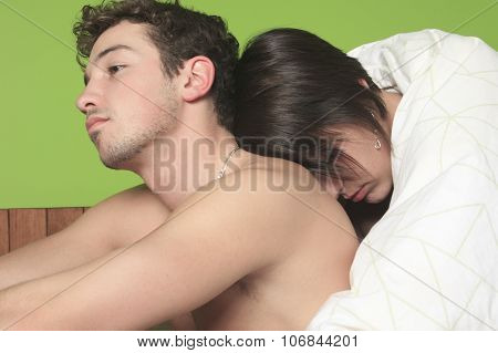 Young couple who having problem in bed