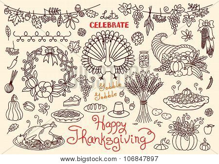 Let's celebrate Happy Thanksgiving doodles set. Traditional symbols - thanksgiving turkey, pumpkin p