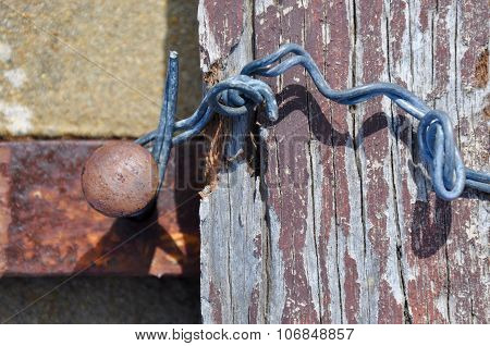 Wood and Wire Abstract with Rusted Metal