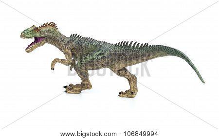 Allosaurus Toy On A White Background