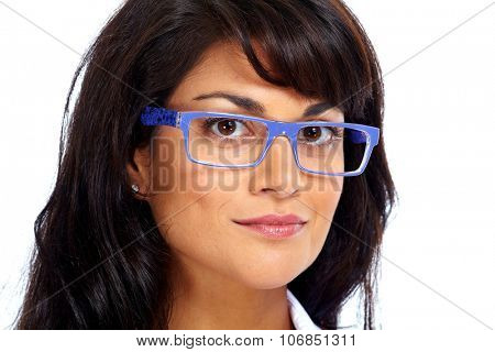 Asian business woman with eyeglasses. Eye health care. poster